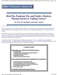 Bird Flu, Pandemic Flu, and Poultry Markets: Playing Ostrich or ...