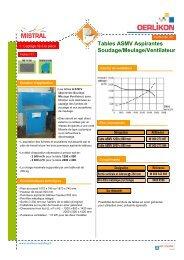 I-11 Tables ASMV aspirantes soudage meulage ventilateur - Oerlikon