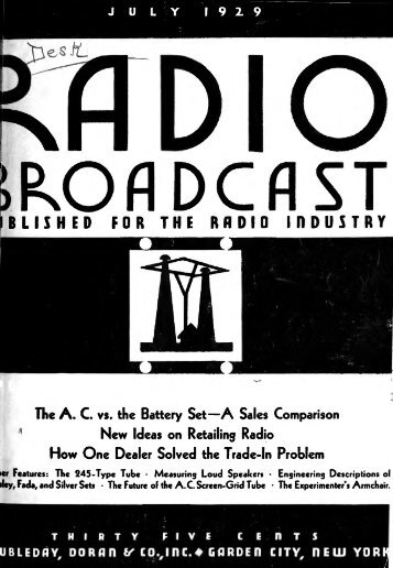 Radio Broadcast - 1929, July - 64 Pages, 6.5 MB ... - VacuumTubeEra