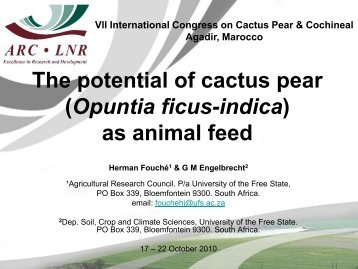 The potential of cactus pear (Opuntia ficus-indica) as animal feed