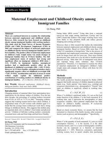 Maternal Employment and Childhood Obesity among Immigrant ...