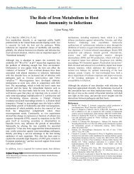 The Role of Iron Metabolism in Host Innate Immunity to Infections