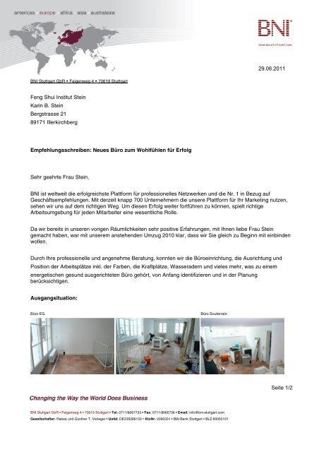 Referenzschreiben Bni Stuttgart Feng Shui Institut Stein