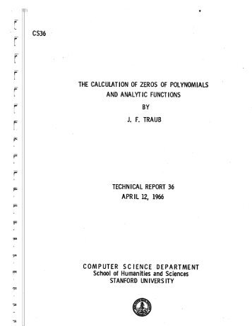 the calculation of zeros of polynomials and analytic functions by jf ...