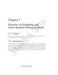 Chapter 7 Exercise on Graphing and Least Squares Fitting in Excel