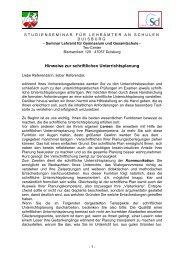 Handreichung Schriftlicher Unterrichtsplan 2011