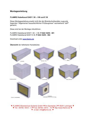 p 3080 7780 mpa bs fks e kanal flamro brandschutz systeme. Black Bedroom Furniture Sets. Home Design Ideas