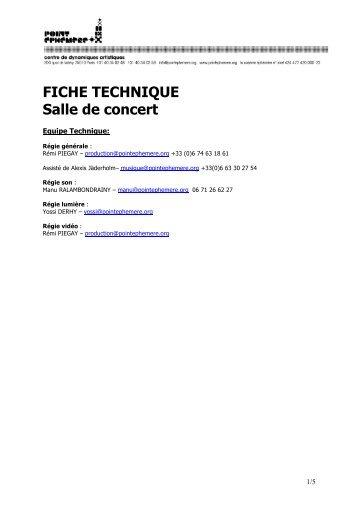 FICHE TECHNIQUE Salle de concert
