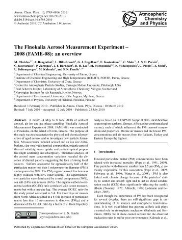The Finokalia Aerosol Measurement Experiment - Atmospheric ...