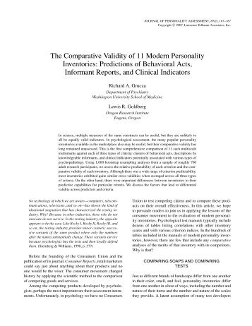 The Comparative Validity of 11 Modern Personality Inventories ...