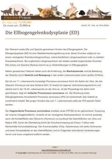Die Ellbogengelenksdysplasie (ED) - Kleintierpraxis Dr. Nina Müller