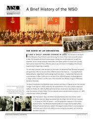 A Brief History of the Mso - Milwaukee Symphony Orchestra
