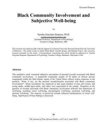 black community involvement and subjective well being