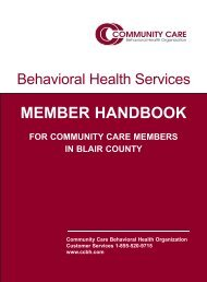 MEMBER HANDBOOK - Community Care Behavioral Health