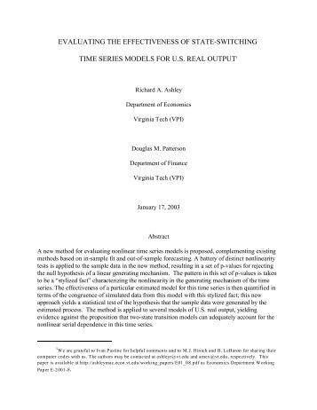 evaluating the effectiveness of state-switching time series models for ...