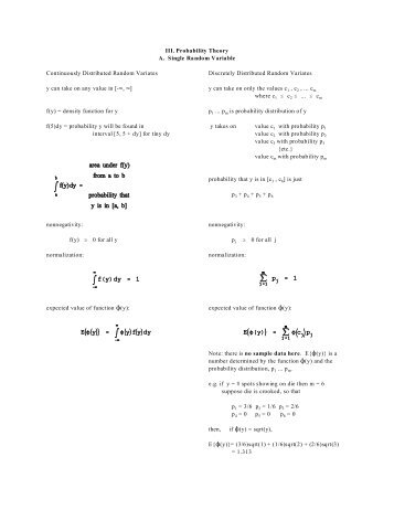 III. Probability Theory A. Single Random Variable Continuously ...