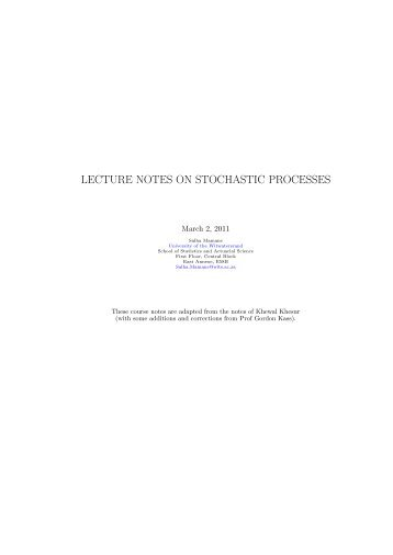 LECTURE NOTES ON STOCHASTIC PROCESSES