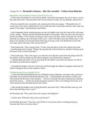 2 Kings 20:1-21 Hezekiah's sickness – His Life extended ... - DelRifkah