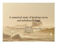 A numerical study of breaking waves and turbulence effects