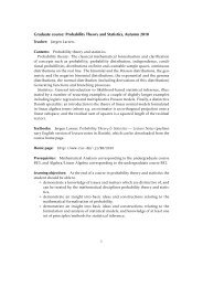 Graduate course: Probability Theory and Statistics, Autumn ... - dirac