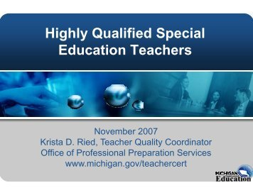 Highly Qualified Special Education Teachers-PowerPoint