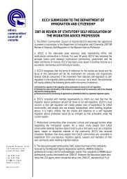 eccv submission to the department of immigration and - Ethnic ...