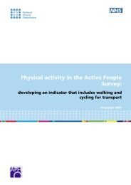 Physical activity in the Active People Survey: - National Obesity ...