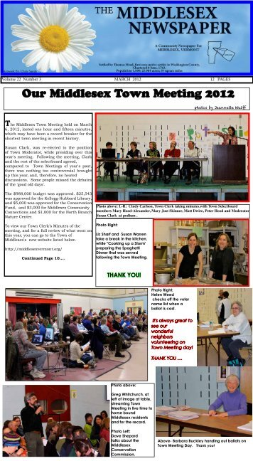 Our Middlesex Town Meeting 2012 - Middlesex Newspaper