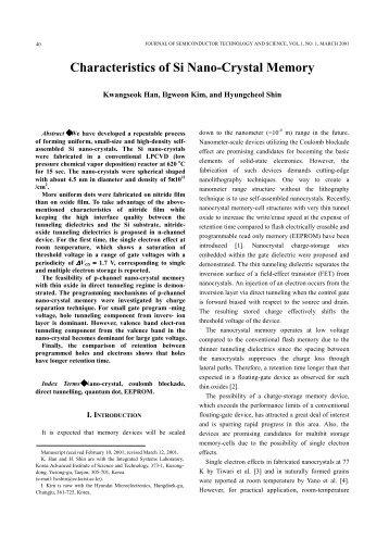 Characteristics of Si Nano-Crystal Memory - JSTS
