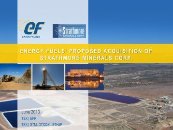 energy fuels - Strathmore Minerals Corp.