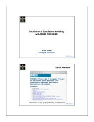 Geochemical Speciation Modeling with USGS PHREEQC USGS ...