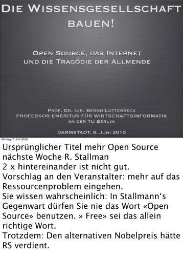 Die Wissensgesellschaft bauen! - Bernd Lutterbeck