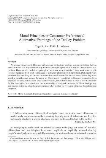 Moral Principles or Consumer Preferences? - UCLA Reasoning Lab