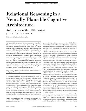 Relational Reasoning in a Neurally Plausible Cognitive Architecture