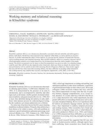 Working memory and relational reasoning in Klinefelter syndrome