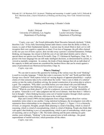 Thinking and reasoning: A reader's guide - UCLA Reasoning Lab