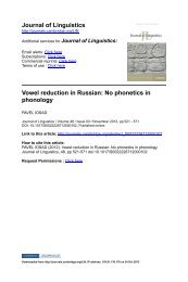 Journal of Linguistics Vowel reduction in Russian: No ... - Pavel Iosad