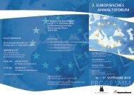 PROGRAMM 3. EuropäischEs AnwAltsforum 16. / 17. sEptEmBEr 2010