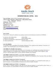 INFORMATIONS DE L'HOTEL - 2011 - Amelia Beach Resort & Spa