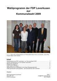 Wahlprogramm der FDP Leverkusen zur Kommunalwahl 2009