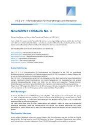 Newsletter Infobüro No. 1 - Netzwerk Psychotherapie und Alternativen