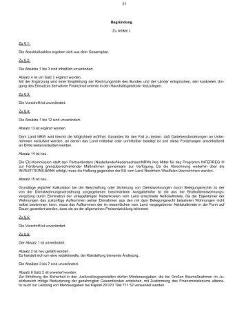 Begründung - Finanzministerium NRW