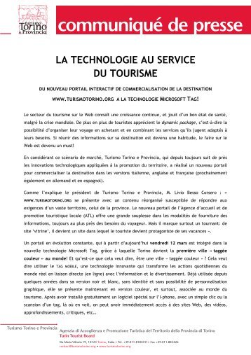 LA TECHNOLOGIE AU SERVICE DU TOURISME - Turismo Torino