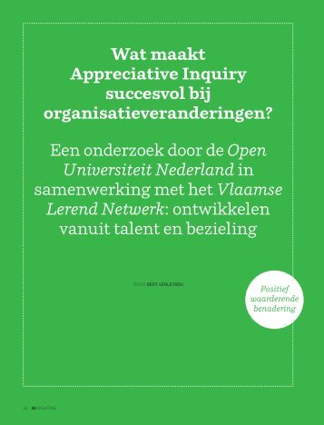 Wat maakt Appreciative Inquiry succesvol bij ...