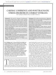 Cardiac Coherence and Posttraumatic Stress Disorder in Combat ...
