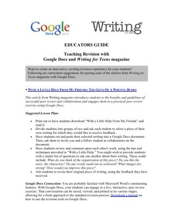 EDUCATORS GUIDE Teaching Revision with Google Docs and ...