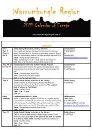2011 Calendar of Events - Warrumbungle Region