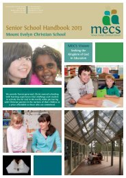 Senior School Handbook 2013 - Mount Evelyn Christian School