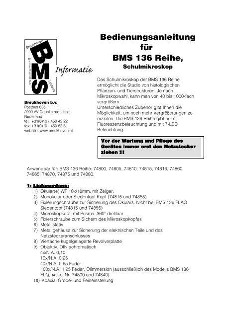 Bedienungsanleitung für BMS 136 Reihe,