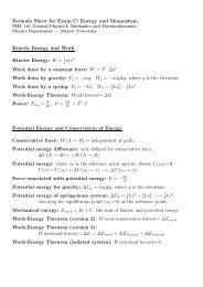 Formula Sheet for Exam C - Mercer University Physics